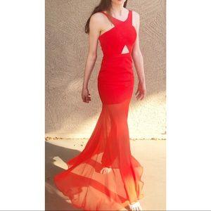 BCBGMaxAzria Ria Red Cut Out Prom Dress Gown